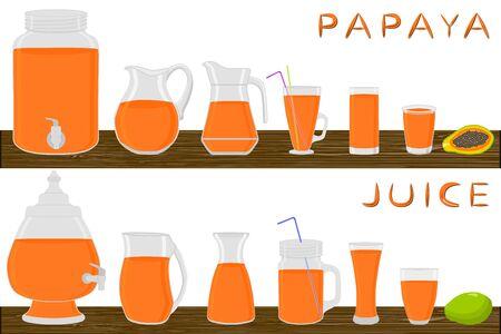 Illustration on theme big kit different types glassware, papaya jugs various size. Glassware consisting of organic plastic jugs for fluid papaya. Jugs of papaya it glassware standing on wooden table. Stock Illustratie