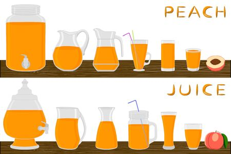 Illustration on theme big kit different types glassware, peach jugs various size. Glassware consisting of organic plastic jugs for fluid peach. Jugs of peach it glassware standing on wooden table. Stock Illustratie