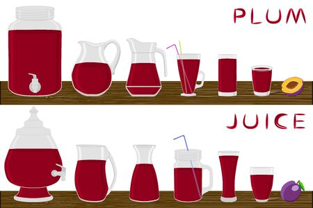 Illustration on theme big kit different types glassware, plum jugs various size. Glassware consisting of organic plastic jugs for fluid plum. Jugs of plum it glassware standing on wooden kitchen table