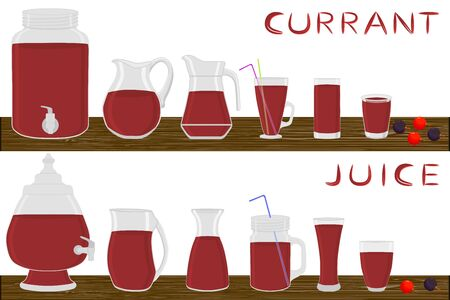 Illustration on theme big kit different types glassware, currant jugs various size. Glassware consisting of organic plastic jugs for fluid currant. Jug of currant it glassware standing on wooden table