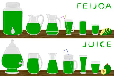 Illustration on theme big kit different types glassware, feijoa jugs various size. Glassware consisting of organic plastic jugs for fluid feijoa. Jugs of feijoa is glassware standing on wooden table.