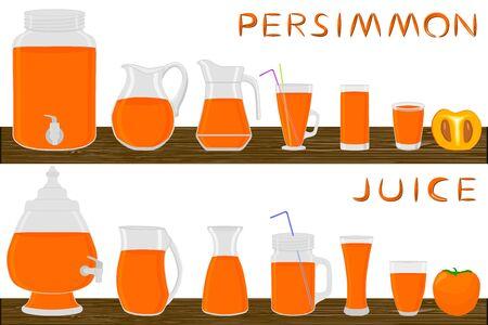 Illustration on theme big kit different types glassware, persimmon jugs various size. Glassware consisting of organic plastic jugs for fluid persimmon. Jugs of persimmon is glassware on wooden table. Stock Illustratie