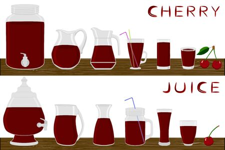 Illustration on theme big kit different types glassware, cherry jugs various size. Glassware consisting of organic plastic jugs for fluid cherry. Jugs of cherry is glassware standing on wooden table.