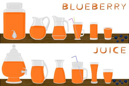 Illustration on theme big kit different types glassware, blueberry jugs various size. Glassware consisting of organic plastic jugs for fluid blueberry. Jugs of blueberry is glassware on wooden table. Stock Illustratie