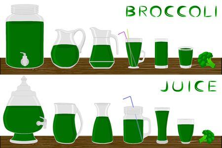Illustration on theme big kit different types glassware, broccoli jugs various size. Glassware consisting of organic plastic jugs for fluid broccoli. Jugs bright broccoli it glassware on wooden table. Stock Illustratie