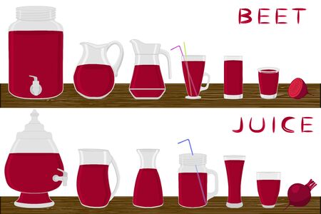 Illustration on theme big kit different types glassware, beet jugs various size. Glassware consisting of organic plastic jugs for fluid beet. Jugs of bright beet it glassware standing on wooden table. Ilustrace