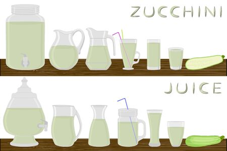 Illustration on theme kit different types glassware, zucchini jugs various size. Glassware consisting of organic plastic jugs for fluid zucchini. Jugs zucchini it glassware standing on wooden table. Stock Illustratie