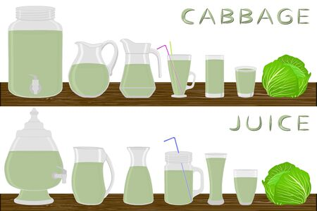 Illustration on theme big kit different types glassware, cabbage jugs various size. Glassware consisting of organic plastic jugs for fluid cabbage. Jugs cabbage it glassware standing on wooden table.