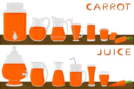 Illustration on theme big kit different types glassware, carrot in jugs various size. Glassware consisting of organic plastic jugs for fluid carrot. Jugs carrot it glassware standing on wooden table.