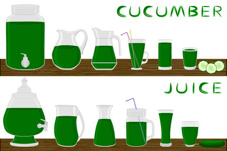 Illustration on theme kit different types glassware, cucumber jugs various size. Glassware consisting of organic plastic jugs for fluid cucumber. Jugs cucumber it glassware standing on wooden table.