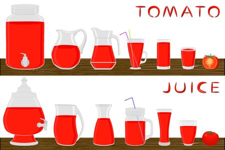 Illustration on theme big kit different types glassware, tomato jugs various size. Glassware consisting of organic plastic jugs for fluid tomato. Jugs tomato it glassware standing on wooden table.