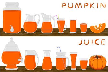 Illustration on theme big kit different types glassware, pumpkin jugs various size. Glassware consisting of organic plastic jugs for fluid pumpkin. Jugs pumpkin it glassware standing on wooden table.
