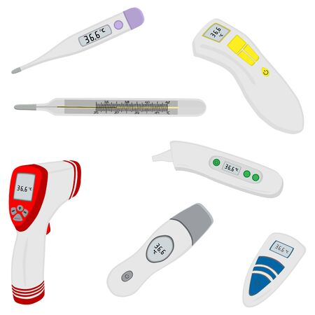 Illustration on theme big colored set different types of thermometers for hospital. Thermometer consisting of collection accessory with quality control. Plastic thermometer is main medicine target.