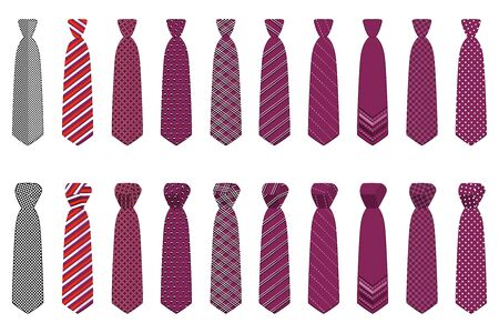 Illustration on theme big set ties different types, neckties various size. Tie pattern consisting of collection textile garments necktie for celebration vacation. Necktie tie is accessory brutal man.  イラスト・ベクター素材