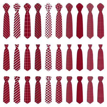 Illustration on theme big set ties different types, neckties various size. Tie pattern consisting of collection textile garments necktie for celebration vacation. Necktie tie is accessory brutal man. Vectores