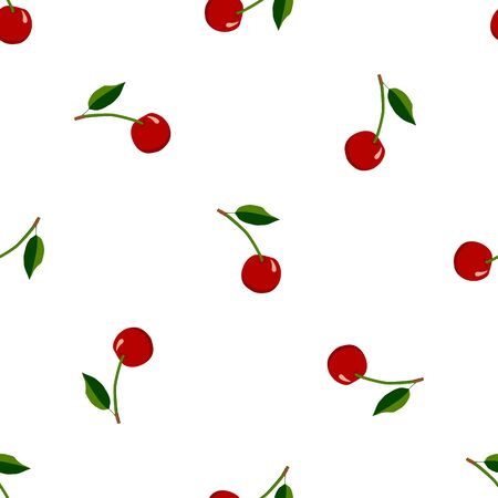 Illustration on theme big colored seamless cherry, bright berry pattern for seal. Berry pattern consisting of beautiful seamless repeat cherry. Simple colorful pattern berry from seamless soft cherry.