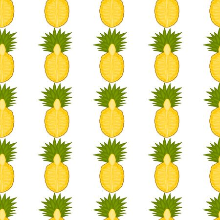 Illustration on theme big colored seamless pineapple, bright fruit pattern for seal. Fruit pattern consisting of beautiful seamless repeat pineapple. Simple colorful pattern fruit seamless pineapple. Иллюстрация