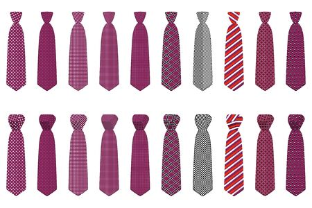 Illustration on theme big set ties different types, neckties various size. Tie pattern consisting of collection textile garments necktie for celebration vacation. Necktie tie is accessory brutal man. Stock Illustratie
