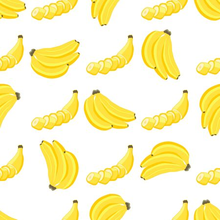 Illustration on theme big colored seamless banana, bright fruit pattern for seal. Fruit pattern consisting of beautiful seamless repeat banana. Simple colorful pattern fruit from seamless banana. Stock Illustratie