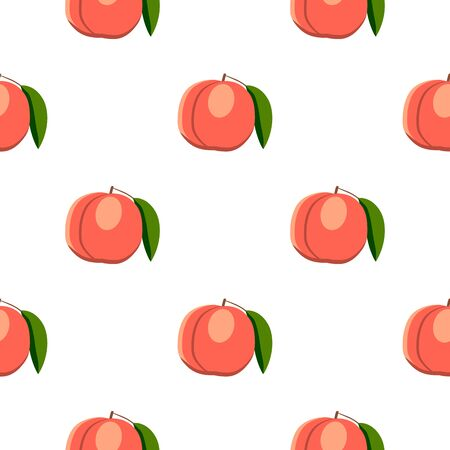 Illustration on theme big colored seamless peach, bright fruit pattern for seal. Fruit pattern consisting of beautiful seamless repeat peach. Simple colorful pattern fruit from seamless soft peach.