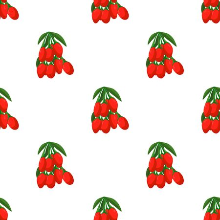 Illustration on theme big colored seamless goji, bright berry pattern for seal. Berry pattern consisting of beautiful seamless repeat goji. Simple colorful pattern berry from seamless soft goji.