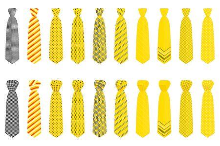Illustration on theme big set ties different types, neckties various size. Tie pattern consisting of collection textile garments necktie for celebration vacation. Necktie tie is accessory brutal man. Foto de archivo - 150099816