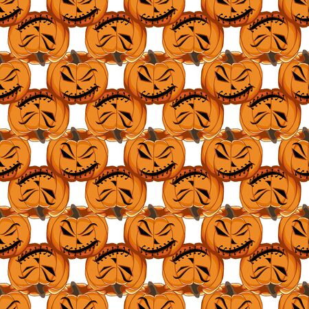 Illustration on theme big colored pattern Halloween, seamless orange pumpkin. Seamless pattern consisting of collection pumpkin, accessory at Halloween. Rare pattern Halloween from seamless pumpkin. Ilustração