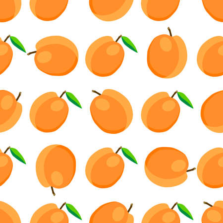 Illustration on theme big colored seamless apricot, bright fruit pattern for seal. Fruit pattern consisting of beautiful seamless repeat apricot. Simple colorful pattern fruit from seamless apricot. 向量圖像