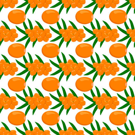 Theme big colored seamless sea buckthorn, bright berry pattern for seal. Berry pattern consisting of beautiful seamless repeat sea buckthorn. Simple colorful pattern berry from seamless sea buckthorn.