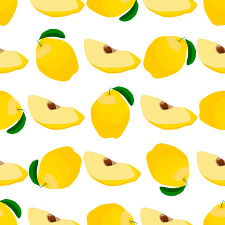 Illustration on theme big colored seamless quince, bright fruit pattern for seal. Fruit pattern consisting of beautiful seamless repeat quince. Simple colorful pattern fruit from seamless quince.