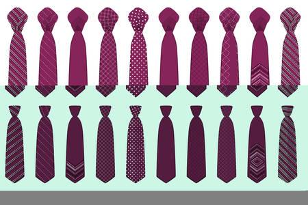 Illustration on theme big set ties different types, neckties various size. Tie pattern consisting of collection textile garments necktie for celebration vacation. Necktie tie is accessory brutal man. Illusztráció
