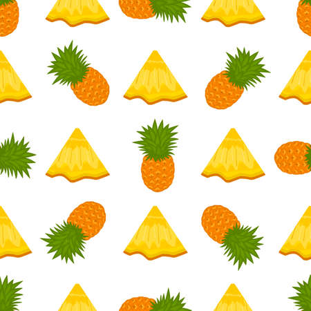 Illustration on theme big colored seamless pineapple, bright fruit pattern for seal. Fruit pattern consisting of beautiful seamless repeat pineapple. Simple colorful pattern fruit seamless pineapple. Ilustração
