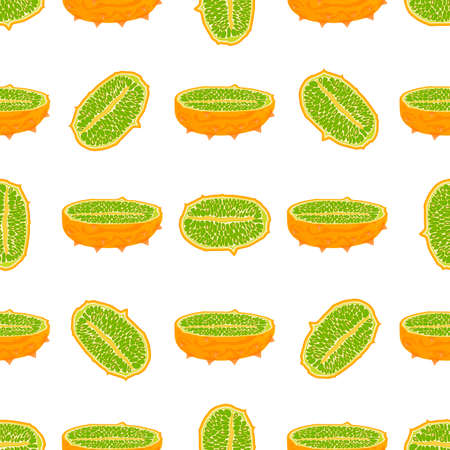Illustration on theme big colored seamless kiwano, bright fruit pattern for seal. Fruit pattern consisting of beautiful seamless repeat kiwano. Simple colorful pattern fruit from seamless soft kiwano.