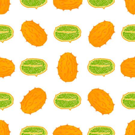 Illustration on theme big colored seamless kiwano, bright fruit pattern for seal. Fruit pattern consisting of beautiful seamless repeat kiwano. Simple colorful pattern fruit from seamless soft kiwano.
