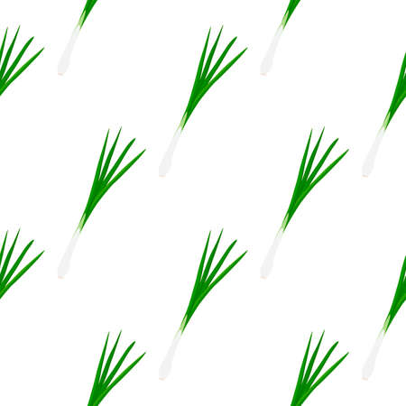 Illustration on theme of bright pattern green onion, vegetable root for seal. Vegetable pattern consisting of beautiful green onion, many root. Simple colorful vegetable pattern from root green onion. 向量圖像