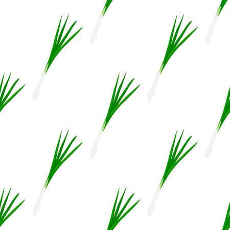 Illustration on theme of bright pattern green onion, vegetable root for seal. Vegetable pattern consisting of beautiful green onion, many root. Simple colorful vegetable pattern from root green onion. Иллюстрация