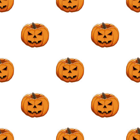 Illustration on theme big colored pattern Halloween, seamless orange pumpkin. Seamless pattern consisting of collection pumpkin, accessory at Halloween. Rare pattern Halloween from seamless pumpkin. Иллюстрация