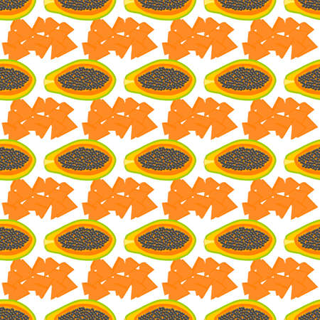 Illustration on theme big colored seamless papaya, bright fruit pattern for seal. Simple colorful pattern fruit from seamless papaya.