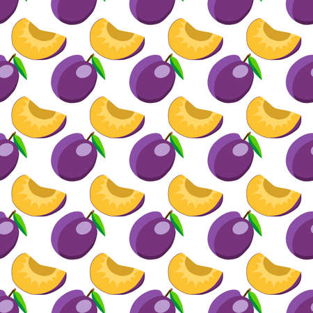 Illustration on theme big colored seamless purple plum, bright fruit pattern for seal. Fruit pattern consisting of beautiful seamless repeat plum. Simple colorful pattern fruit from seamless plum.