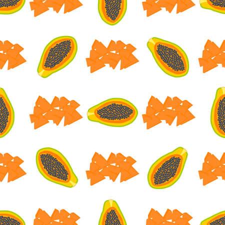 Illustration on theme big colored seamless papaya, bright fruit pattern for seal. Fruit pattern consisting of beautiful seamless repeat papaya. Simple colorful pattern fruit from seamless papaya. Vectores