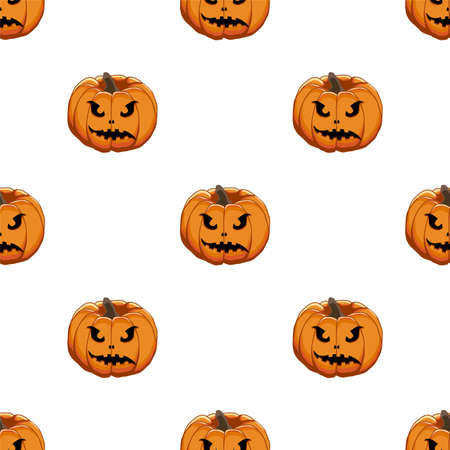 Illustration on theme big colored pattern Halloween, seamless orange pumpkin. Seamless pattern consisting of collection pumpkin, accessory at Halloween. Rare pattern Halloween from seamless pumpkin. Vectores