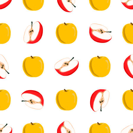 Illustration on theme big colored seamless apple, bright fruit pattern for seal. Fruit pattern consisting of beautiful seamless repeat apple. Simple colorful pattern fruit from seamless beauty apple. Vectores