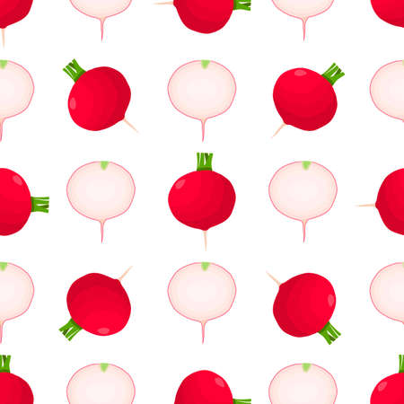 Illustration on theme of bright pattern red radish, vegetable root for seal. Vegetable pattern consisting of beautiful red radish, many root. Simple colorful vegetable pattern from root red radish.