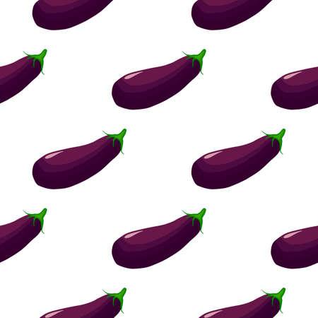 Illustration on theme of pattern eggplant, vegetable aubergine for seal. Vegetable pattern consisting of beautiful eggplant, many aubergine. Simple colorful vegetable pattern from aubergine eggplant.