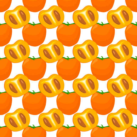 Illustration on theme big colored seamless persimmon, fruit pattern for seal. Fruit pattern consisting of beautiful seamless repeat persimmon. Simple colorful pattern fruit from seamless persimmon. Ilustração