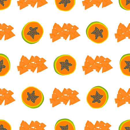 Illustration on theme big colored seamless papaya, bright fruit pattern for seal. Fruit pattern consisting of beautiful seamless repeat papaya. Simple colorful pattern fruit from seamless papaya. Ilustração