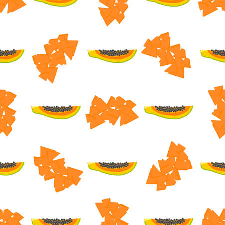 Illustration on theme big colored seamless papaya, bright fruit pattern for seal. Fruit pattern consisting of beautiful seamless repeat papaya. Simple colorful pattern fruit from seamless papaya. Иллюстрация