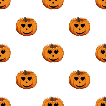 Illustration on theme big colored pattern Halloween, seamless orange pumpkin. Seamless pattern consisting of collection pumpkin, accessory at Halloween. Rare pattern Halloween from seamless pumpkin. 向量圖像