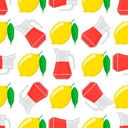 Illustration on theme big colored lemonade in lemon jug for natural drink. Lemonade pattern consisting of collection kitchen accessory, lemon jug to organic food. Tasty fresh lemonade from lemon jug. 矢量图像