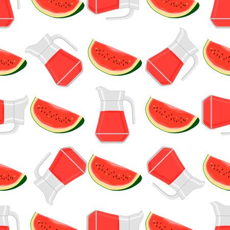 Illustration on theme colored lemonade in watermelon jug for natural drink. Lemonade pattern consisting of kitchen accessory, watermelon jug to organic food. Tasty fresh lemonade from watermelon jug.